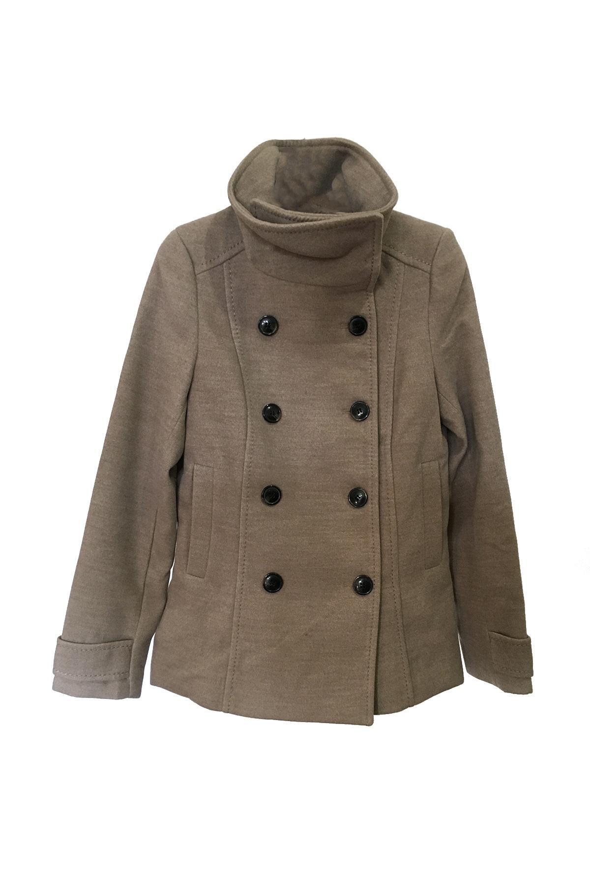 buy, double, breasted, short, coat, h&m, women's, 0390162002, brown, color, deliver price from50.31 $