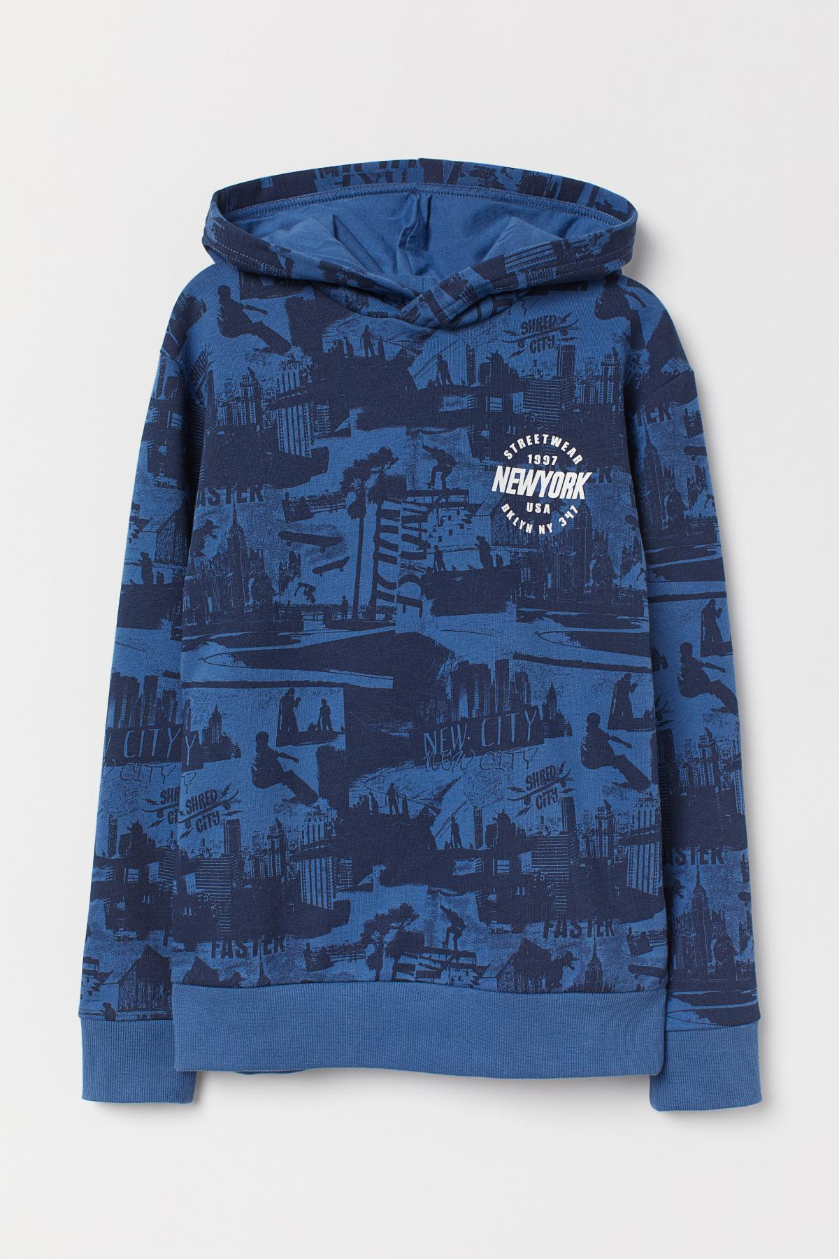 buy, print, hoody, h&m, kid's, 0708285009, blue, color, Kyiv, deliver, Ukraine, price from 17.7 $