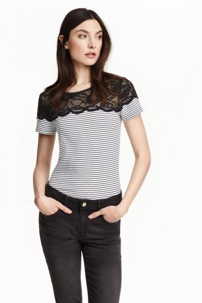 Image Knitted top with lace H&M 0269426020